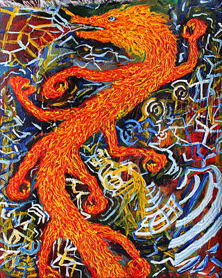 Morphing Painting - Multidimensional Flaming Serpent by Maxwell Hanson