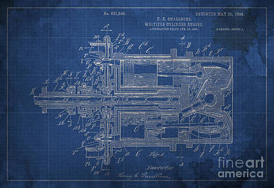 Farmhouse Royalty Free Images - Multiple Cylinder Engine Patented on 1906 Royalty-Free Image by Drawspots Illustrations