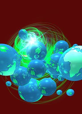 Multiple Globes Art Print by Victor Habbick Visions