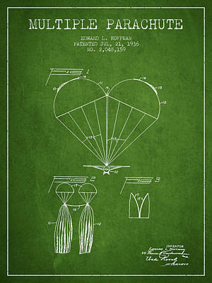 Skydiving Digital Art - Multiple Parachute Patent From 1936 - Green by Aged Pixel
