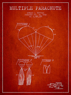 Skydiving Digital Art - Multiple Parachute Patent From 1936 - Red by Aged Pixel