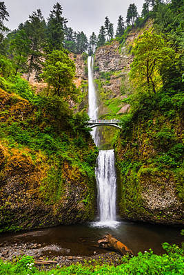 Photograph - Multnomah Falls In All Their Splendor - Columbia River Gorge Oregon by Silvio Ligutti