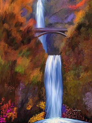 Multnomah Falls In Autumn Art Print by Angela A Stanton