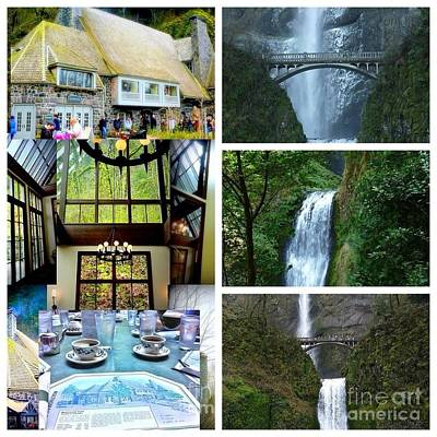 Photograph - Multnomah Falls Lodge Collage by Susan Garren