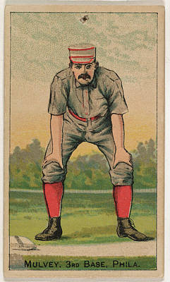 Baseball Cards Drawing - Mulvey, 3rd Base, From The Gold Coin by D. Buchner & Co., New York