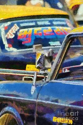 Painting - Mumbai Cabs by George Atsametakis