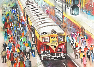 Drawing - Mumbai Lifeline by Parag Pendharkar