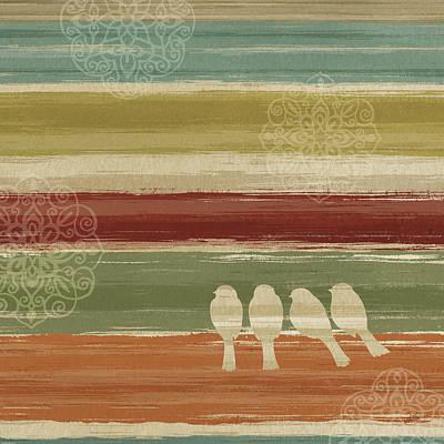 Abstracted Animal Painting - Mumbai Rainbow Birds IIi by Daphne Brissonnet