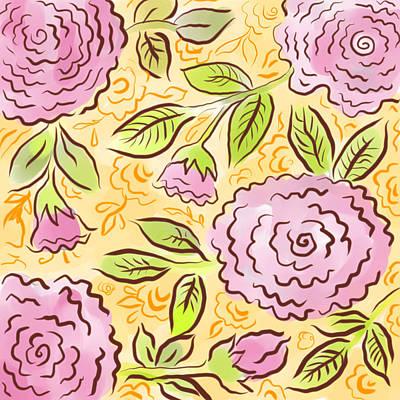 Digital Art - Mums And Roses by Elaine Jackson