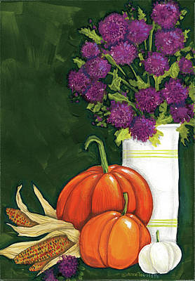 Gourds Painting - Mums by Anne Tavoletti