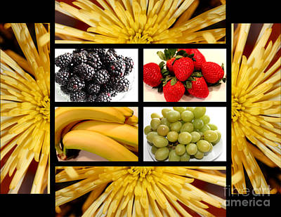 Mums Fruit Collage Art Print by Barbara Griffin