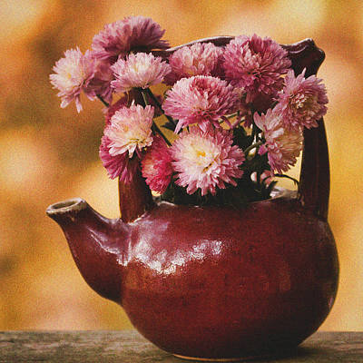 Art Print featuring the photograph Mums In A Teapot Still Life by Peggy Collins