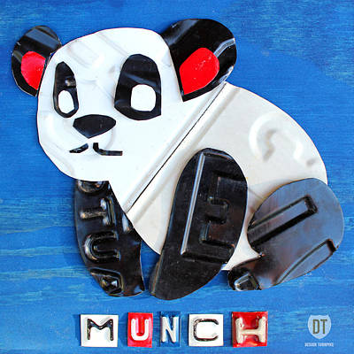 Mixed Media - Munch The Panda License Plate Art by Design Turnpike