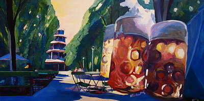 Chinese Market Painting - Munich Chinese Tower Beergarden In English Garden by M Bleichner