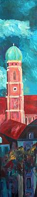Skyline Painting - Munich - Church Of Our Lady At Dawn - Triptych - II Of IIi by M Bleichner