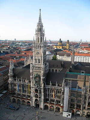 Marienplatz Photograph - Munich - Cityscape - Marienplatz by Christiane Schulze Art And Photography