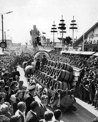 Photograph - Munich Germany Beer Kegs Celebration by Retro Images Archive