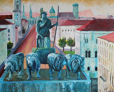 Munich Leopold Str. With Bavaria And Alps Art Print by M Bleichner