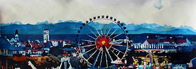 Octoberfest Painting - Munich Oktoberfest Panorama With Alps And Giant Wheel by M Bleichner