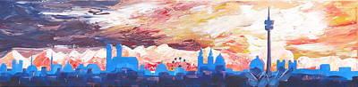 Munich Skyline At Dusk With Alps Art Print