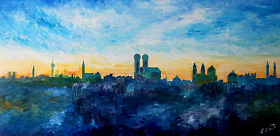 Munich Skyline With Church Of Our Lady Art Print by M Bleichner