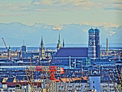 Munich Skyline With Church Of Our Lady With Alps Art Print