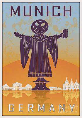 European City Digital Art - Munich Vintage Poster by Pablo Romero