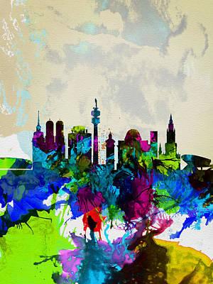 Panoramic Digital Art - Munich Watercolor Skyline by Naxart Studio