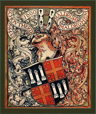 Digital Art - Municipality Of Maldegem Belgium Medieval Coat Of Arms by Serge Averbukh