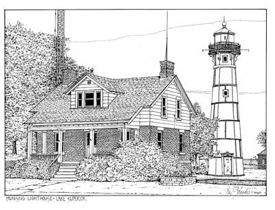 Lighthouse Drawing - Munising Lighthouse Lake Superior by Ira Shander
