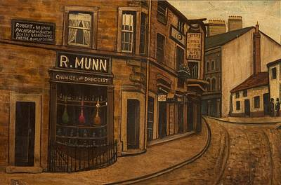 Drugstores Painting - Munns Corner, 1890 by O'Shea