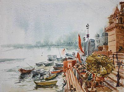 Munshi Ghat Ganga River Original by Dinesh Pandey
