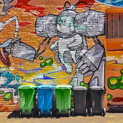 Art Photograph - Mural And Bins by Julie Gebhardt