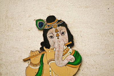 Mural Depicting Ganesha, A Hindu Deity Art Print