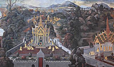 Mural - Grand Palace In Bangkok Thailand - 01132 Art Print by DC Photographer