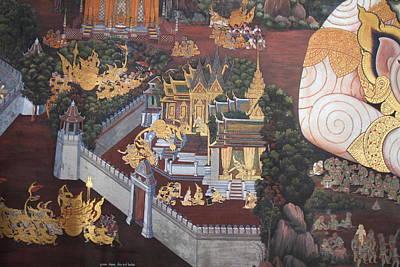 Mural - Grand Palace In Bangkok Thailand - 01139 Art Print by DC Photographer