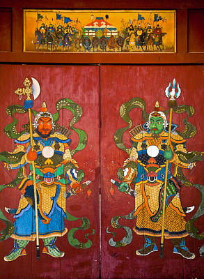 Photograph - Mural Of Buddhist Guardians Ulan Baatar by Colin Monteath