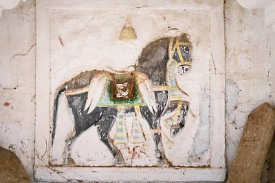 Mural Of Horse Inside Ghanerao Castle Art Print by Keren Su