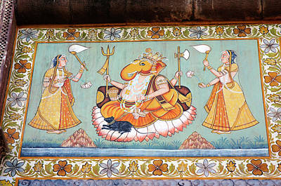 Mural Photograph - Mural Painted On The Wall, Mehrangarh by Inger Hogstrom