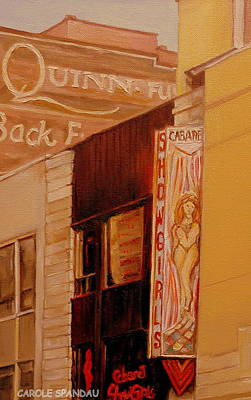 Montreal Buildings Painting - Mural Sign-vintage Building-showgirl Marquee by Carole Spandau