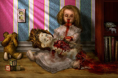 Suburbanscenes Digital Art - Murder - Appetite For Blood by Mike Savad