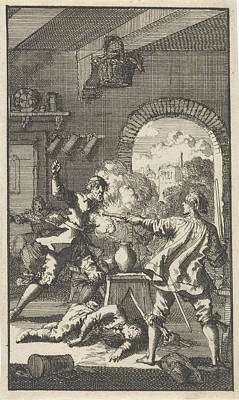 Cardinal Drawing - Murder By Cardinal Del Monte, 1560, Jan Luyken by Quint Lox