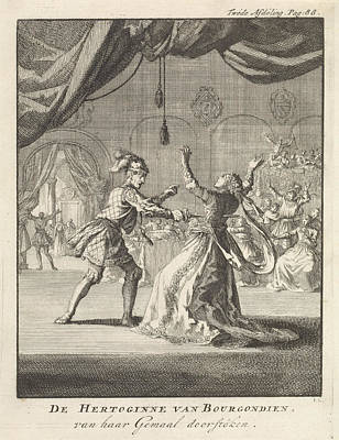 Ballroom Drawing - Murder Of The Duchess Of Burgundy, Jan Luyken by Jan Luyken And Jan Claesz Ten Hoorn