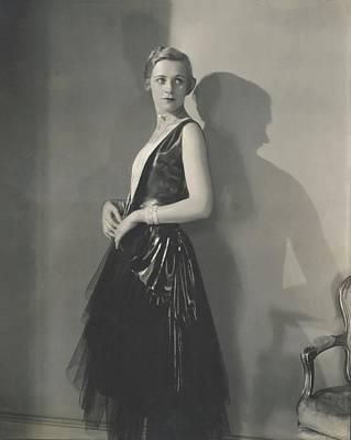 Muriel Finley Wearing A Dress By Frances Clyne Art Print