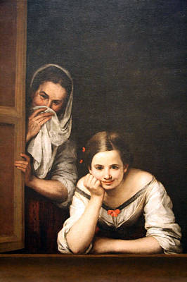 Murillo's Two Women At A Window Art Print by Cora Wandel