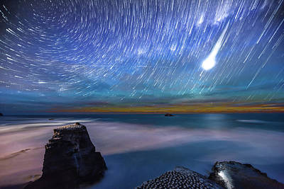 Photograph - Muriwai Startrails by Mike Mackinven