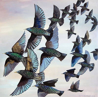 Starlings Painting - Murmuration by Jane Tomlinson