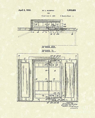 Pull Drawing - Murphy Bed 1932 Patent Art by Prior Art Design