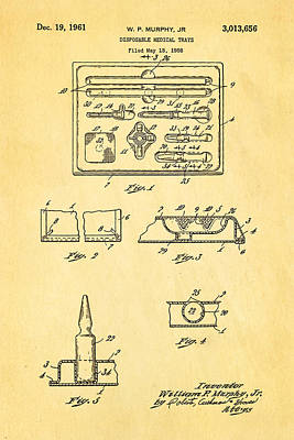 Murphy Photograph - Murphy Disposable Medical Tray Patent Art 1961 by Ian Monk