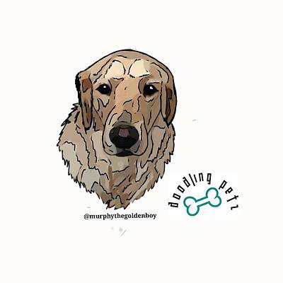 Retrievers Digital Art - Murphy The Golden Retriever by Doodling  Petz